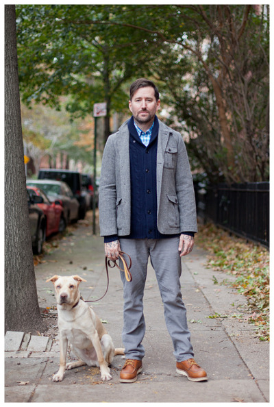 Jason and his well behaved pooch spotted out on a stroll…Fort Greene, Brooklyn (via StreetGeist)