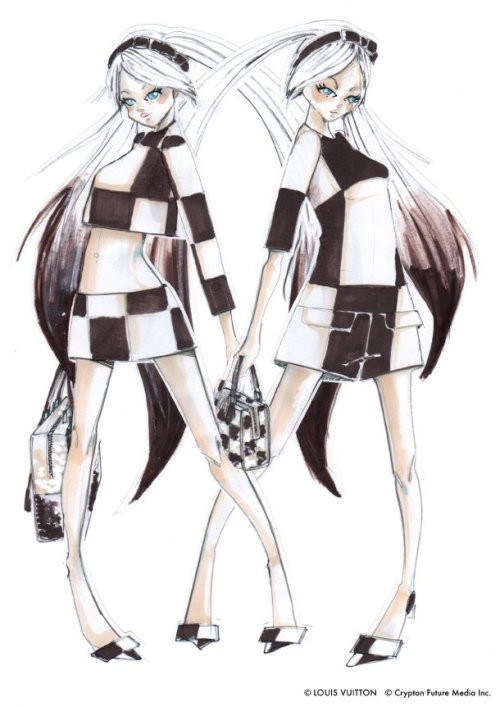 "Louis Vuitton Designs Hatsune Miku's Costume for Opera For THE END opera that will be held on December 1 and 2 at the Yamaguchi Center for Arts and Media in Yamaguchi City, director Toshiki Okada and digital music artist Keiichirō Shibuya decided to collaborate with French fashion brand Louis Vuitton. Louis Vuitton artistic director Marc Jacobs is designing the outfits that Vocaloid idol character Hatsune Miku will wear onstage. No humans will appear onstage during the opera, even to play the instruments. Instead, Vocaloids will take their place, taking over every aria and recitative. The ""actors'"" onstage images are designed by artist YKBX (also known as Masaki Yokobe), who is known for his video ""amazarashi."" Shohei Shigematsu, an architect and a partner of OMA New York, is designing the stage. The clothes Hatsune Miku will wear are clothes based off of Mark Jacobs' spring/summer 2013 collection that were altered in order to fit the virtual singer's body type and unique style. As this is the very first time that outfits from Louis Vuitton will lack the label's signature monogram symbol, the outfits will instead be using a pattern similar to the Louis Vuitton's familiar diamond pattern. The purses have been altered from the standard Louis Vuitton bag into cubical and square shapes to accentuate to the geometric themes. [Anime News Network]   In addition, here's a picture I found of two models wearing the outfits:"
