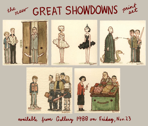 scottlava:  Look, you guys!  A new limited edition GREAT SHOWDOWNS PRINT SET! To be released this Friday, Nov. 23 from Gallery 1988. Just in time for the Holiday season.