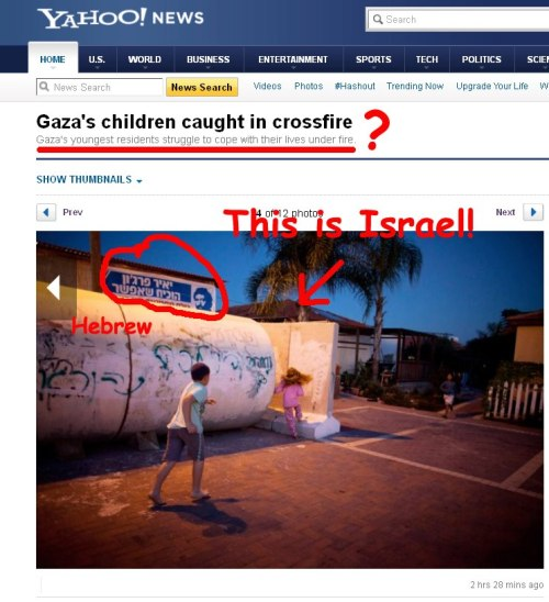 "theyiddisheworld:  Note to Yahoo! News: Israelis Seeking Shelter are not ""Gaza Children""!"