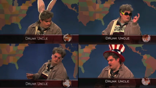 comedynerdsunited:  Drunk Uncle 'SNL' Supercut: A Tribute To Bobby Moynihan's Inebriated 'Weekend Update' Character | Huff Post Comedy Just in time for the holidays!  Is this WiFi organic?