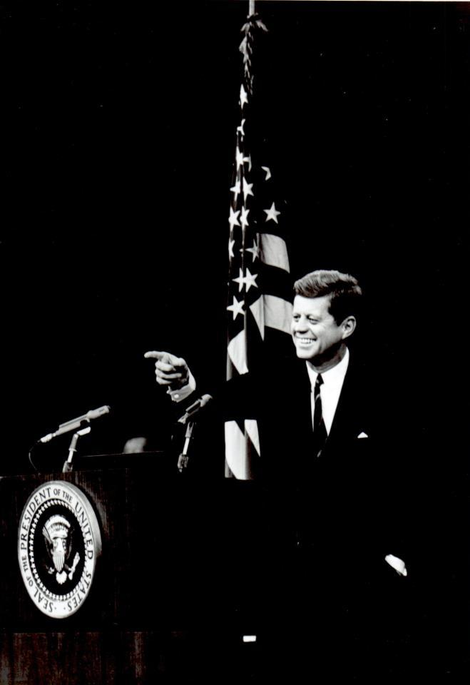 jfklibrary:  November 20, 1962 — President Kennedy is all smiles This is one of our favorite pictures of President Kennedy. Wonder why he looks so happy?  Though the Cuban Missile Crisis came to a peaceful end in October of 1962, as of November, nuclear missiles remained in Cuba and the U.S. naval blockade was still in place. On November 20, 1962 – the day this photo was taken – President Kennedy announced at a press conference that Chairman Khrushchev had agreed to withdraw all of the bombers in Cuba within 30 days, and that the U.S. would lift the blockade. Now that's something to smile about. (source: jfklibrary.org)