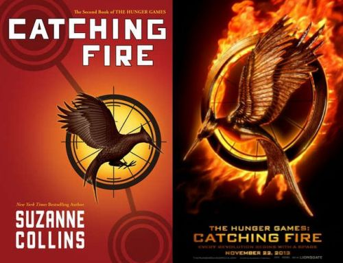CATCHING FIRE logo comparison: the book vs. the movie