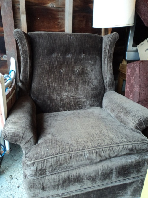 Cozy brown chair. Perfect for curling up with a good book and a glass of wine. Or some beers and an Xbox remote. $40