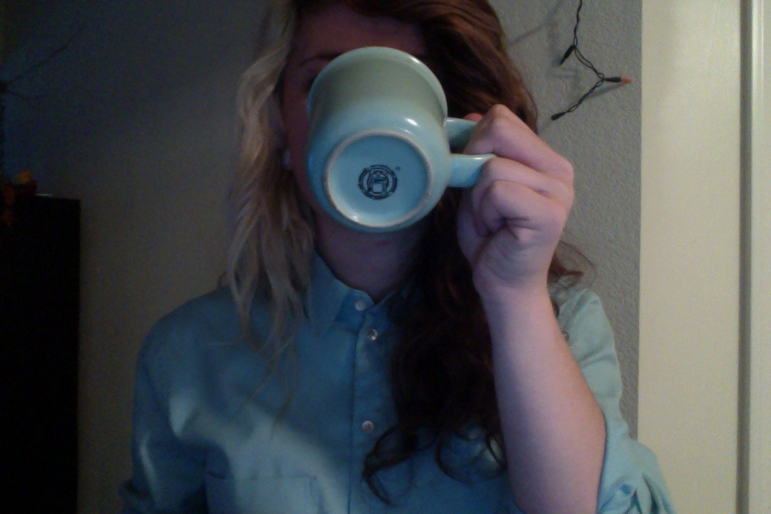 My coffee mug matches my shirt.