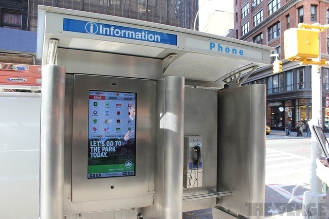First of 250 internet-connected touchscreens replace pay phones in New York City Since cellphones became ubiquitous, cities have been looking for ways to give new life to underused pay phones. Today, a pilot program is beginning to test one option: replacing the phones with touchscreens that can provide information about the surrounding area. The first two screens launched around Union Square, with two more opening tomorrow. Eventually, 250 are planned for installation in the next few months, and they may start showing up in more cities if the plan is a success. The kiosks are free and ad-supported, and a portion of revenue will go back into the city coffers. But are they worth using? We took a look at one to find out. Personally, I would prefer if these pay phones were converted into guerrilla libraries.