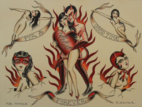 good times tattoo flash I painted a few months ago…