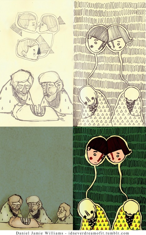 moleskinelovers:  Moleskine sketches turned into illustrations by Daniel Jamie Williams. Click to see more and follow: Tumblr - Facebook