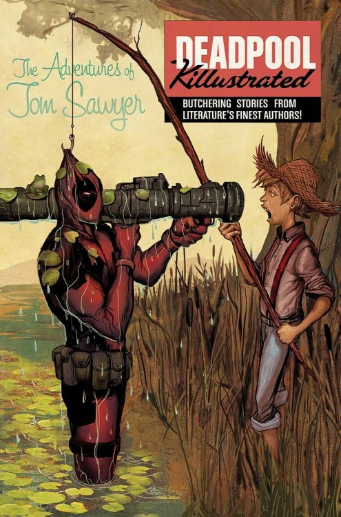 "Deadpool Killustrated #2 Cover Art by Mike Del Mundo ""Poor Tom Sawyer. He don't deserve the Wade bashing."" Deadpool has had his fun with taking down all of the Marvel heroes and is now focusing his killing skills on characters from classic literature in the upcoming four-issue miniseries titled Deadpool Killustrated. This is the bad ass cover art by Mike Del Mundo for Volume #2 (due out in February 2013).  Related Rampages: Mega Sleep (More) Deadpool Killustrated #2 by Mike Del Mundo (deviantART) (Twitter) via deadlydelmundo and bonniegrrl"
