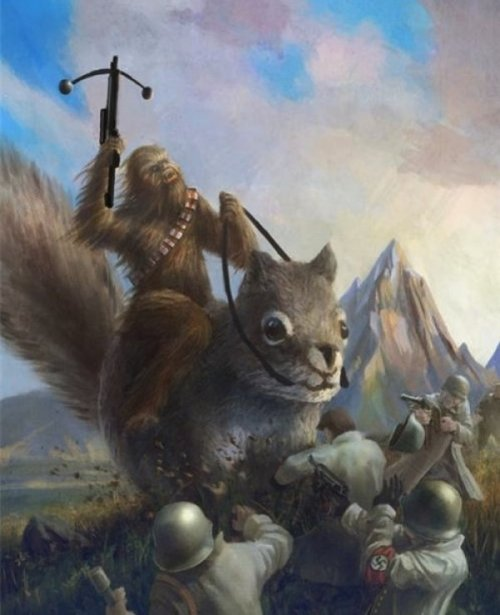Chewbacca Riding a Giant Squirrel and Fighting Nazis Give that Wookiee a medal!