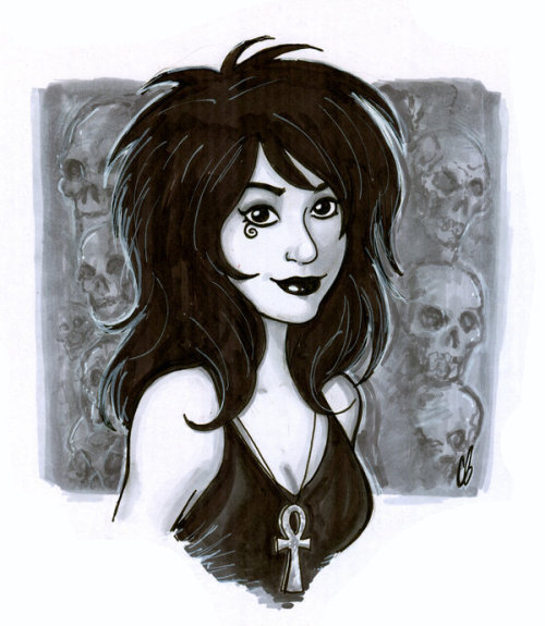 thehappysorceress:  bigchrisgallery:  Copic sketch of Death! http://www.etsy.com/shop/BigChrisGallery  Such a cute Death!