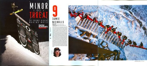 Jamie Nicholls is having a good week, check his pages out in the new Snowboarder Mag in the Minor Threats article…