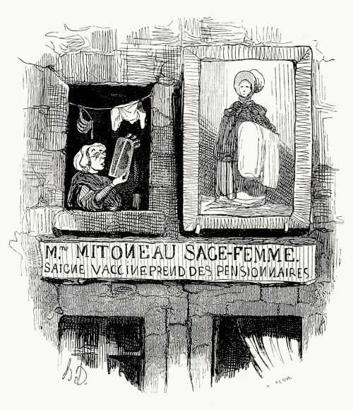 Midwives.  Honoré Daumier, from Némésis médicale illustrée (illustrated medical nemesis) vol. 2, by  François Fabre, Paris, 1840.  (Source: archive.org)