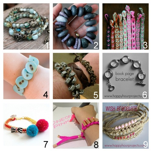 truebluemeandyou:  True Blue Me & You DIY Gift Guide: Bracelets. To see other roundups of DIY gifts go here:truebluemeandyou.tumblr.com/tagged/diy-gift-guide After Looking through 48 pages of Bracelets, these are my Favorite Bracelets to DIY for Gifts. Part Three Ladder Stitch Bracelet Tutorial and video at Lima Beads here. Easy Textured Polymer Beads Tutorial from Jibby and Juna here. Heart Friendship Bracelets Tutorial from Purlbee here. Button Bracelet Tutorial from quelinda crafts here.  Masculine Bracelets Tutorial Roundup from Thanks, I Made It here. Book Page Bracelet Tutorial from Happy Hour Projects here. *Truly a beginner's project. Knockoff Les Nereides Pom Pom Bracelet Tutorial from Small Good Things here. Knockoff Matthew Williamson Neon Drawstring Bracelet Tutorial from inspiration & realisation here. *All supplies from Home Depot. Hemp Twine Wish Bracelets Tutorial from Happy Hour Projects here.