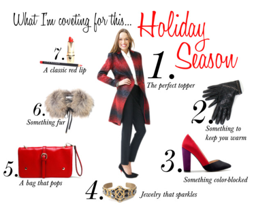 "Kelly's Holiday Picks Not sure how to ""amp up your glam"" for the holidays?  When the weather is cold outside, your coat really needs to make a statement, so I always start with an awesome topper.  Next, throw on a pair of great gloves, a statement shoe and some eye-catching accessories and your look will truly sparkle! Here are my top picks and the good news is that most of them are available here on Joyus.  So everyone, let's have a fashionable holiday! xo, Kelly (1. Topper 2. Gloves 4. Sparkly Cuff 5. Red Clutch 7. Classic Red Lipstick)"