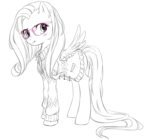 Fluttershy wrapped in a sweater.