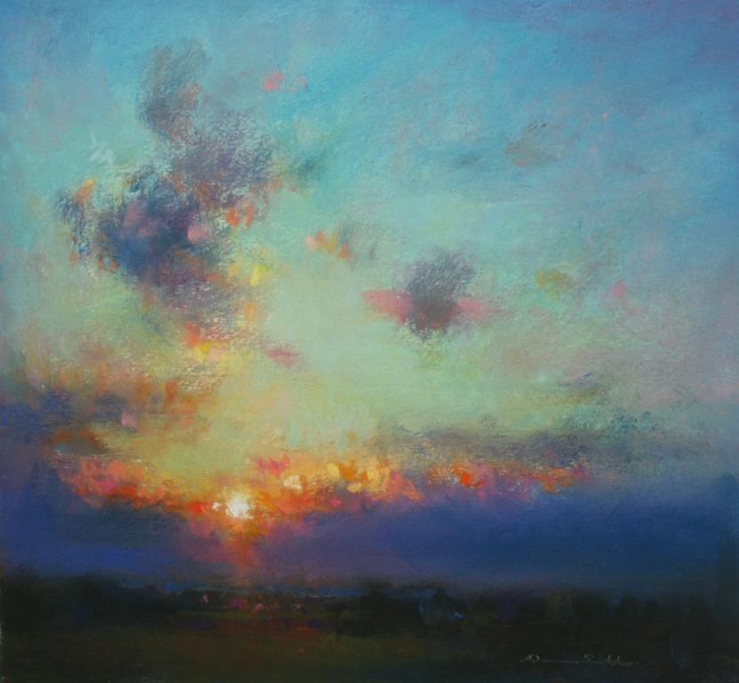 Norman Smith  | Late Western Light (pastel) Just turn me loose,  Let me straddle my old saddle  Underneath the western skies,  On my cay-use  Let me wander over yonder  Till I see the mountains rise.  I want to ride to the ridge  Where the West commences,  Gaze at the moon  Till I lose my senses;  Can't look at hobbles  And I can't stand fences,  Don't fence me in.
