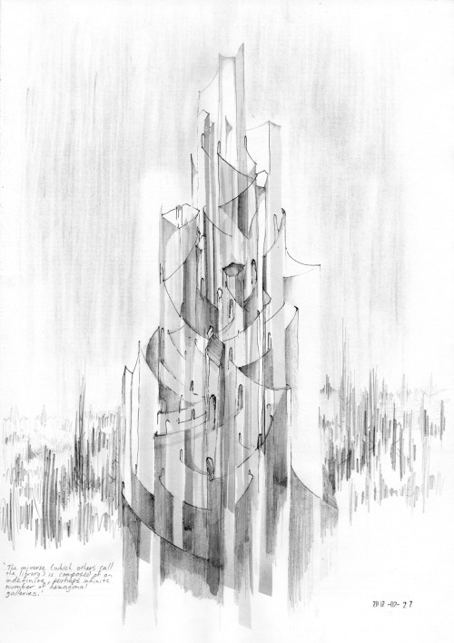 drawingarchitecture:  The Infinite Repository of the Collective Now. Visualising Borges' Library of Babel. Calvin Stables Pencil and ink on paper.