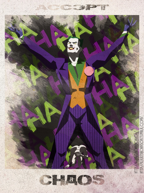 """Accept"" series: Keeping Villains iconic but nefarious. Spotlight: Joker! All hail to the clown prince of crime! It doesn't matter if Joker was a gangster, or a two bit hood or a failed comedian, whatever he was before he is mostly just Joker now! ('Cept for a tiny, teeny part of him.)  Kerrith - Clown Prince of ArtMy Tumblr