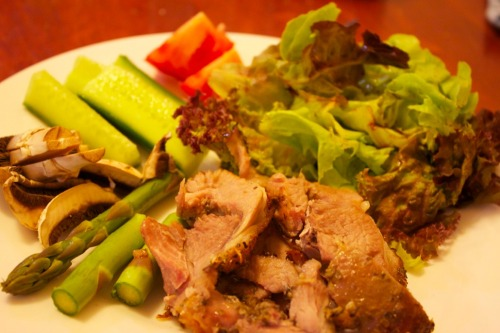 Turkey thigh roast and salad