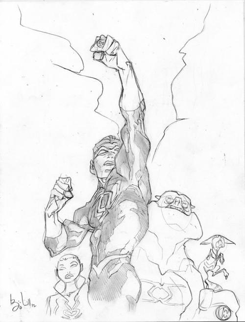 love-and-radiation:  Ben Caldwell drew some Green Lanterns!  Nice!