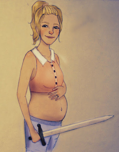 Okaaay, second from the list of pregnant hero ladies I'm doing, first is Katniss ([link])Sorry for the hideous quality, I don't know how to fix it :( Any suggestions?I decided that the baby is a boy, AND in my mind his name is Eli. Eli Jackson. Sounds cute as Hades' home. *lame analogy for hell*Annabeth (c) Rick Riordan