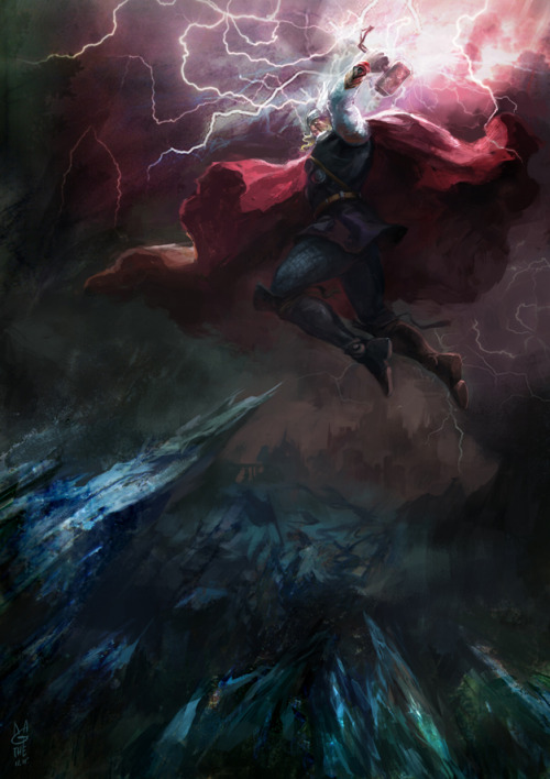ultimobomhomem:  Thor fight in Valhalla by ~agathexu