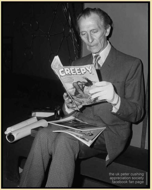 madameerica:  Peter Cushing reading a monster magazinePCASUK
