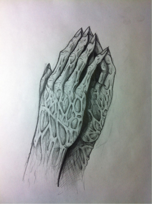 A black and white version I the same evil praying hands I free handed today.