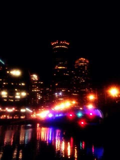 Night run under the city lights in Boston