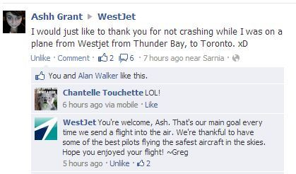 betterthanlegos:  fbfggjjgf MY SISTER went on Westjet's facebook and this happened lmfhfhf i can't   See. This is how you do customer service. Good on you, Greg. That was very nice.