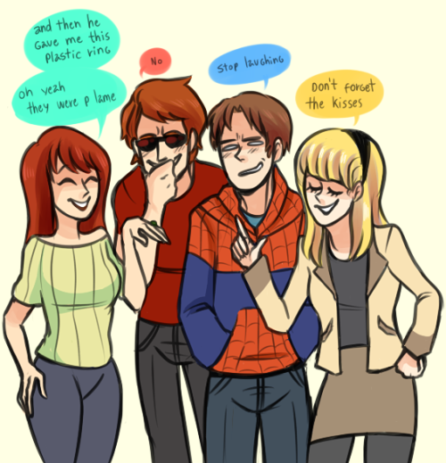 fuckyeahspiderwife:   yazzdonut:   day 9: Hanging out with friends  rad ex-girlfriends   I gigglesnorted.