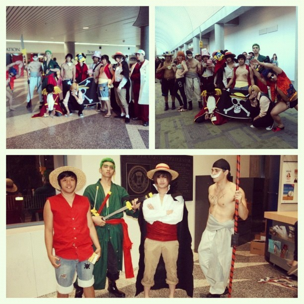 Fanime 2011. I don't think we'll ever be able to top this, lol. Us at our cosplaying prime~ #OnePiece #cosplay #fanime #anime #shanks #luffy #zoro #whitebeard #sanji #ace w/ @pernjie @c_dragon @br_yant
