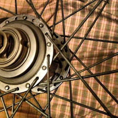 Note to self (and others): Raleigh 40-spoke wheel uses a cross- four pattern, not three, with original spokes.