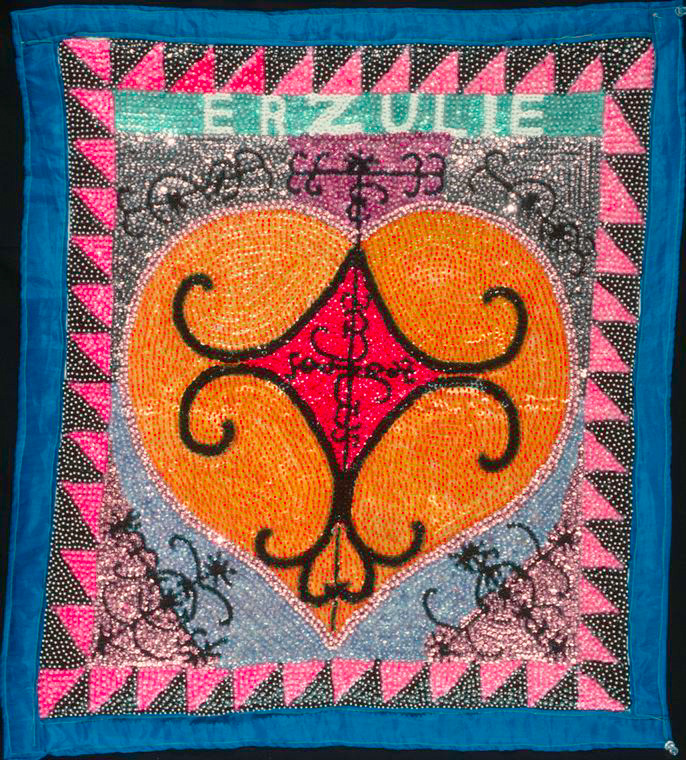 Haitian Veve Flag, Vodou, In honor of the lwa (spirit) Erzulie