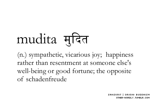 other-wordly:  pronunciation | mU-dE-ta sanskrit script | मुदित