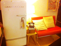Interesting decor choices - a couch and a fridge!