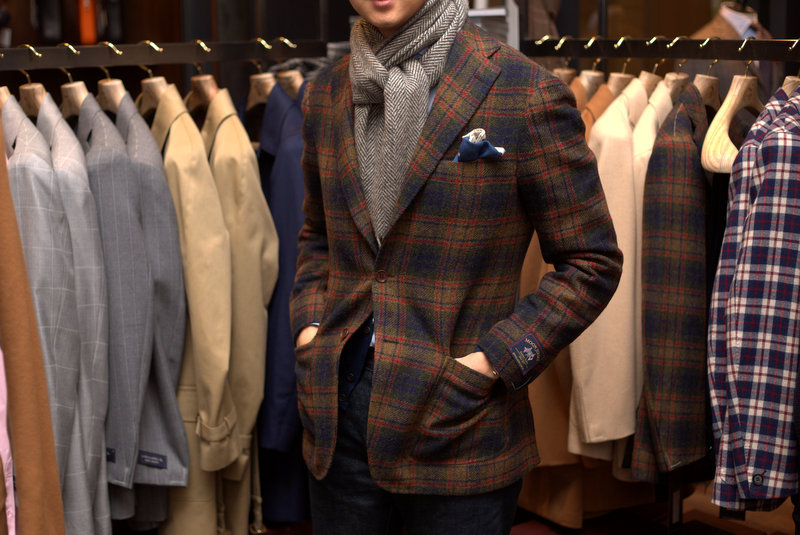 Tweed Walk: Ring Jacket Moon Jersey TweedDrake's Wool Cashmere ScarfArmoury Blue Denim