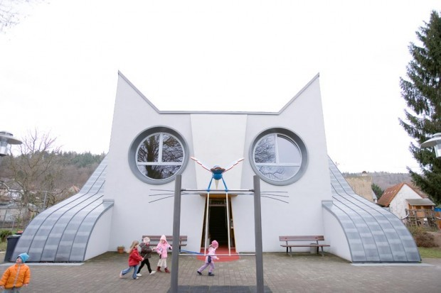 novolaras:  Cat-shaped school, Germany. Designed by illustrator Tomi Ungerer (with Ayla architects).