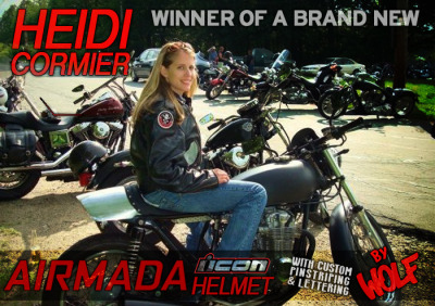 The winner of the MotoLady 4k Facebook Giveaway is Heidi Cormier!  A motorcycling lady who actually recently had her moto pumpkin carving shared on the site- I really couldn't be happier with the randomly generated winner!