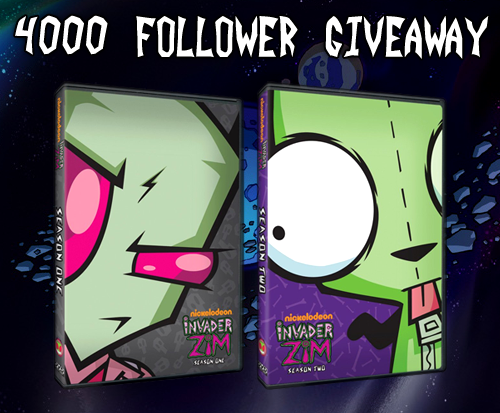 zimages:  Zimages 4000 Follower Giveaway! Though this is now over 100 followers late, Zimages has reached 4000 followers! In celebration of having so many awesome followers, I'm giving away one of my Invader Zim DVD sets! The set I'm giving away is the one pictured above: simply 6 DVD's with all 27 episodes for your viewing pleasure.  I will randomly choose the winner out of the reblogs of this post. Please reblog this no more than 3 times! I won't count those that do reblog this more than 3 times. That's only 3 reblogs total throughout any and all blogs you run. I will draw the winners sometime in the evening of Thursday, November 29. Good luck, and thank you for following Zimages! Seriously. I never thought this blog would be this popular when I made it. Thank you.