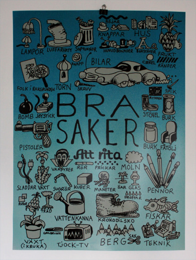 Poster for sale! Got 12 signed copies of my Bra Saker Att Rita-poster  (Good things to draw). The size is 70cm X 100cm and the price is 60 euros or 500 skr if you're in Sweden. Paypal accepted as payment. Contact at leo@recmode.se