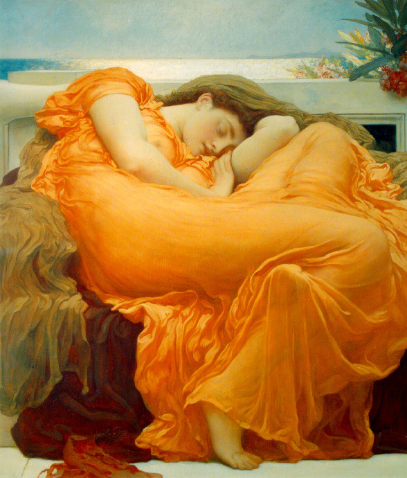 "showslow:  Flaming June  is a painting by Sir Frederic Leighton, produced in 1895. Painted with oil paints on a 47"" x 47"" square canvas, it is widely considered to be Leighton's magnum opus, showing his classicist nature. It is thought that the woman portrayed alludes to the figures of sleeping nymphs and naiads the Greeks often sculpted. The (toxic) Oleander branch in the top right, symbolises the fragile link between sleep and death."