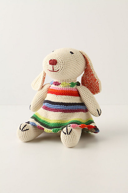 "Dancing Darla Bunny ""This crochet rabbit is all gussied up in her striped finery. Might she be off to the Sock Hop?"" from Anthropologie here."