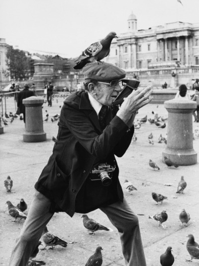 m3zzaluna:  watch the birdie!  an elderly photographer in trafalgar square takes a polaroid photograph with a pigeon perched comedically on his flat cap, 1978. photo by shirley baker.