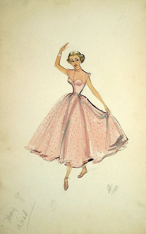 theniftyfifties:  Costume sketch by Edith Head by Marge Champion for 'Mr Music', 1950.