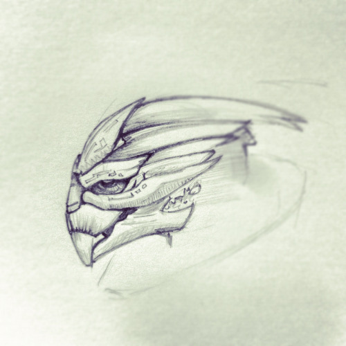 Lunch break doodle: Turian General from Mass Effect.