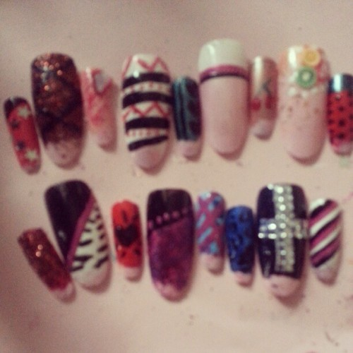 katiefied:  New designs :-) #nail #nailart #fakenails #sparkly #zebra #marble #leopard #fruit #stripes #dots