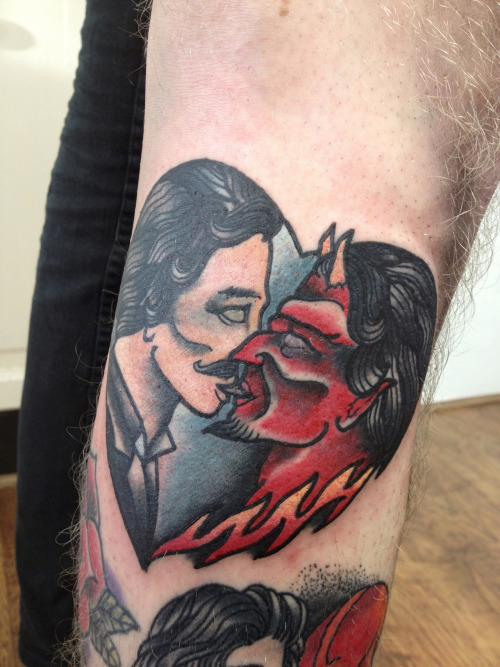 thisisthemaxwellmurder:  Tattooed the painting Adam gave me on him. Gay for Satan