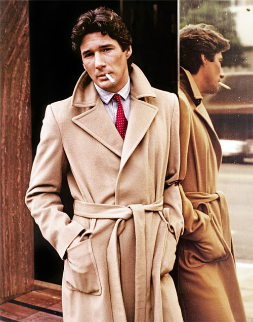 voxsart:  The Louche Lines of the Camel Hair Wait Coat. Richard Gere.